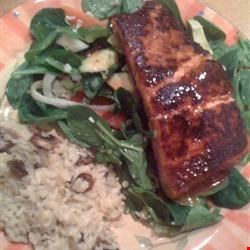 BBQ Salmon over Mixed Greens Recipe