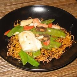 Chinese Noodle Pancakes with Asparagus Recipe