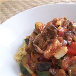 Grilled Vegetables in Balsamic Tomato Sauce with Couscous Recipe